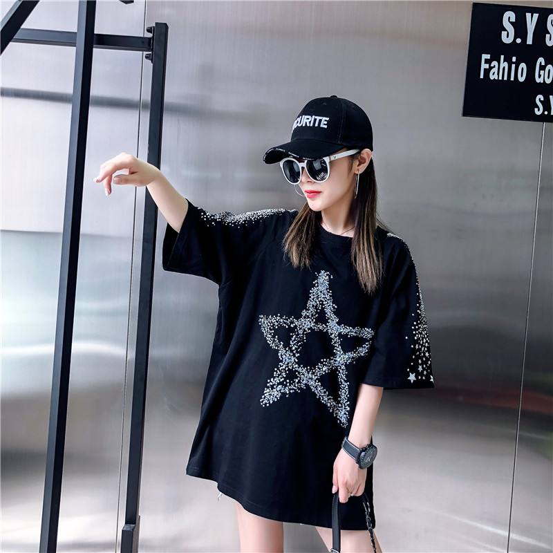 Loose Fashion Five-Pointed Star Dark Printing Short-Sleeved T-Shirt Female 2019 Summer New Round Neck T-Shirt Top H0056 7