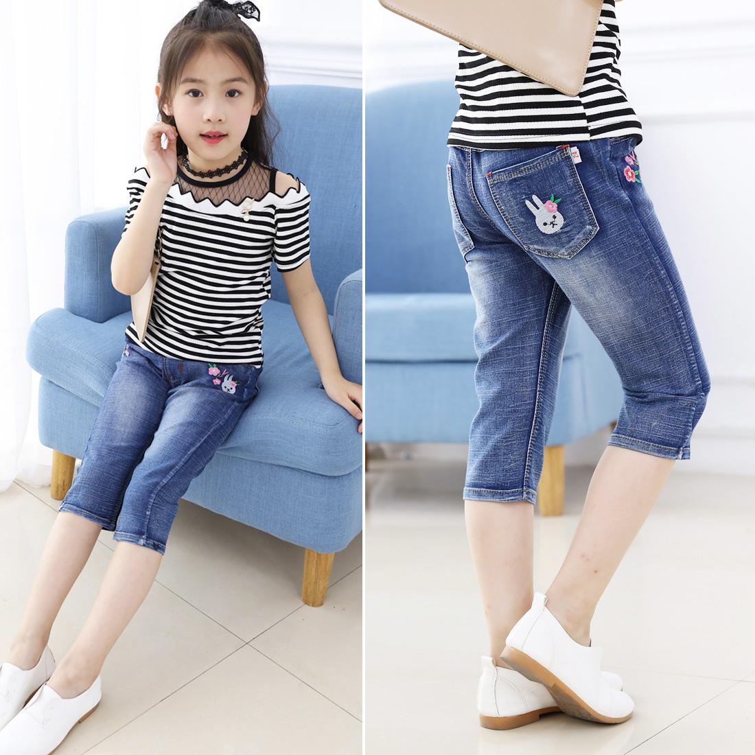 Cô gái quần short 2018 trẻ em mới của mùa hè phụ nữ quần phần mỏng quần áo trẻ em jeans nữ quần bé cắt quần