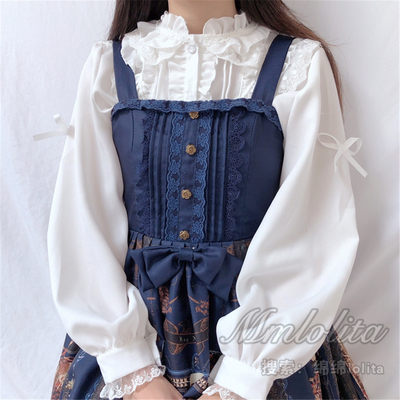 taobao agent More gorgeous design Japanese girls all-match lace lantern sleeve lolita small stand-up collar ruffled shirt