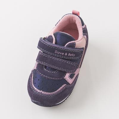 davebella戴维贝拉秋冬女童宝宝鞋紫粉加绒圆头休闲运动鞋DB6000