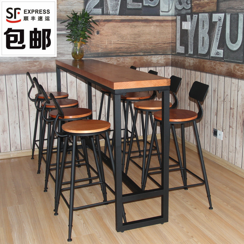 Starbucks Solid Wood Bar Table Wrought Iron Bar Table High Table Bar Table  And Chair Combination ...