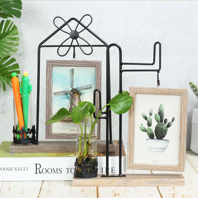 . Creative photo frame pendulum 6 inch photo living room office desktop  hydroponic decorative ornaments Nordic wrought iron double sided photo frame