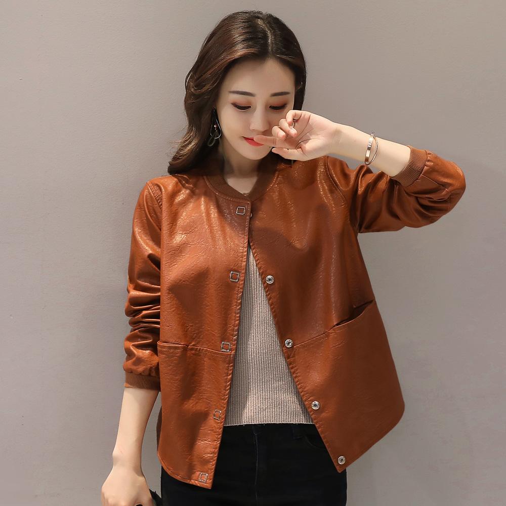 Da phụ nữ đoạn ngắn mùa xuân và mùa thu 2018 Hàn Quốc phiên bản của lỏng kích thước lớn PU da áo khoác ngắn tính khí da bình thường áo khoác nữ triều Quần áo da