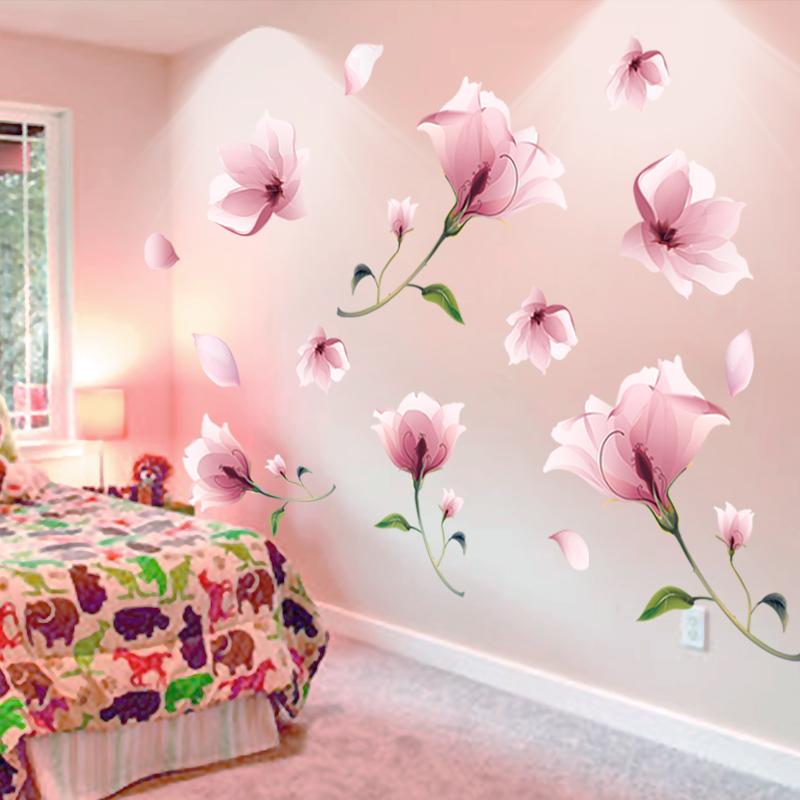 Living room 3D warm bedroom wall flower wall stickers wallpaper room ...