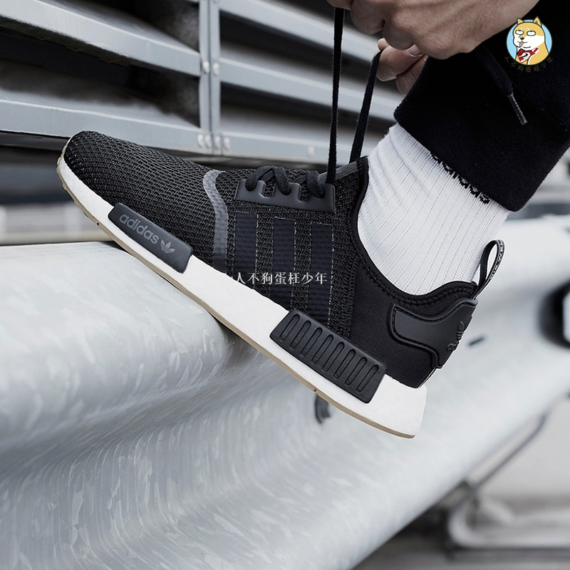 premium selection c0344 94147 Adidas NMD R1 Boost Clover Black and White Running Shoes CQ2411 CQ2412