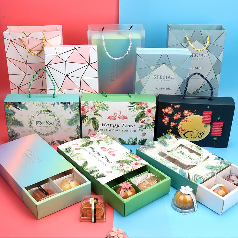 粉蓝6格63-80g蛋黄酥礼品盒 少女心火炼鸟中秋月饼牛轧糖包装盒袋