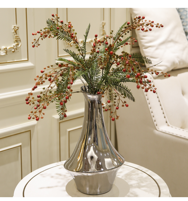 Contracted and I ceramic geometric mirror flower implement long branches of eucalyptus simulation flowers sitting room tea table table desktop furnishing articles
