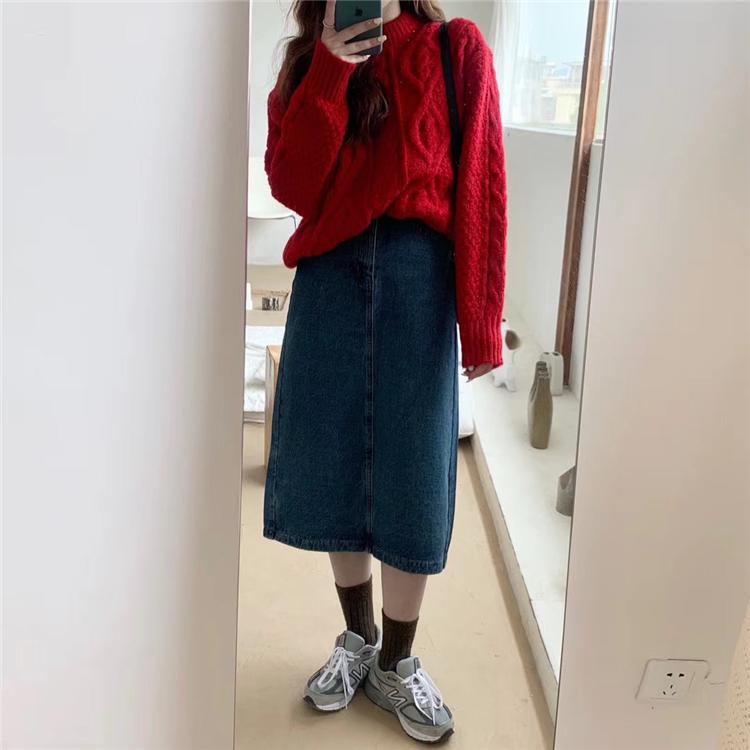 春季新款韩版復古宽鬆字高腰过膝牛仔半身长裙子女详细照片