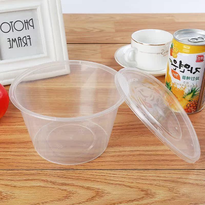 早餐餐具一次性塑料碗盒饭汤碗学生打包带盖保温环保外卖盒圆碗加