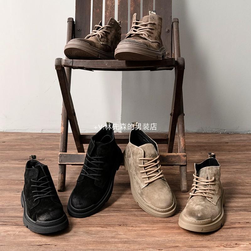 阿美咔叽猪皮鞋面高帮靴猪八革工装战术内里复古擦色做旧鞋4022