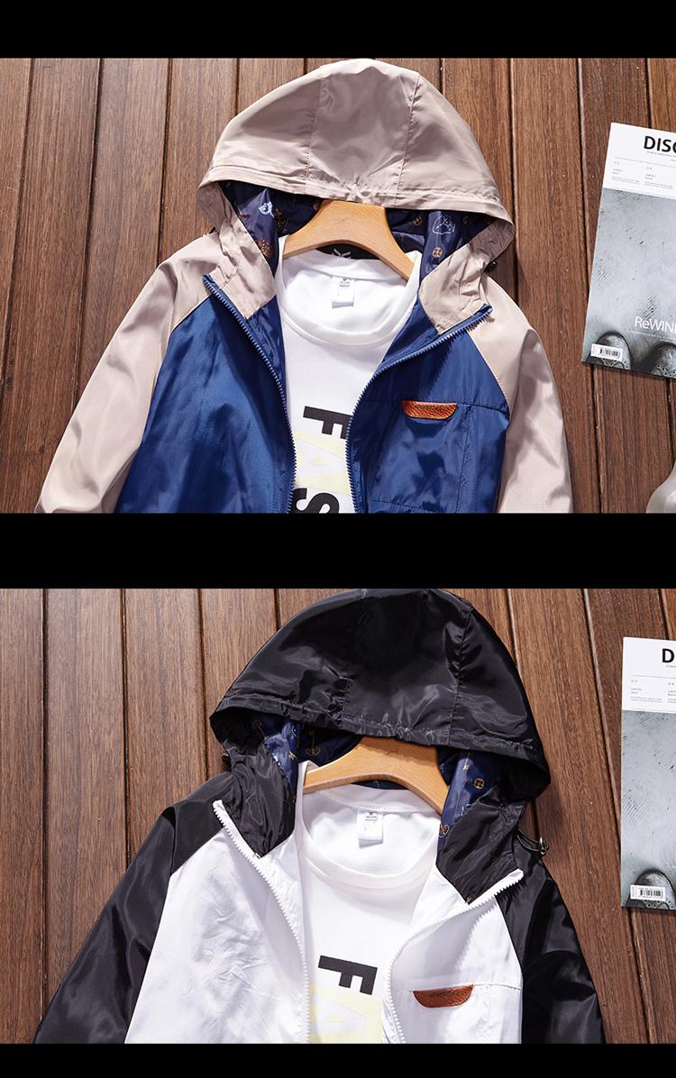 Áo khoác nam mùa xuân và mùa thu thể thao giản dị áo khoác thanh niên xu hướng phù hợp với màu áo sơ mi sinh viên Hàn Quốc đội mũ trùm đầu đồng phục bóng chày