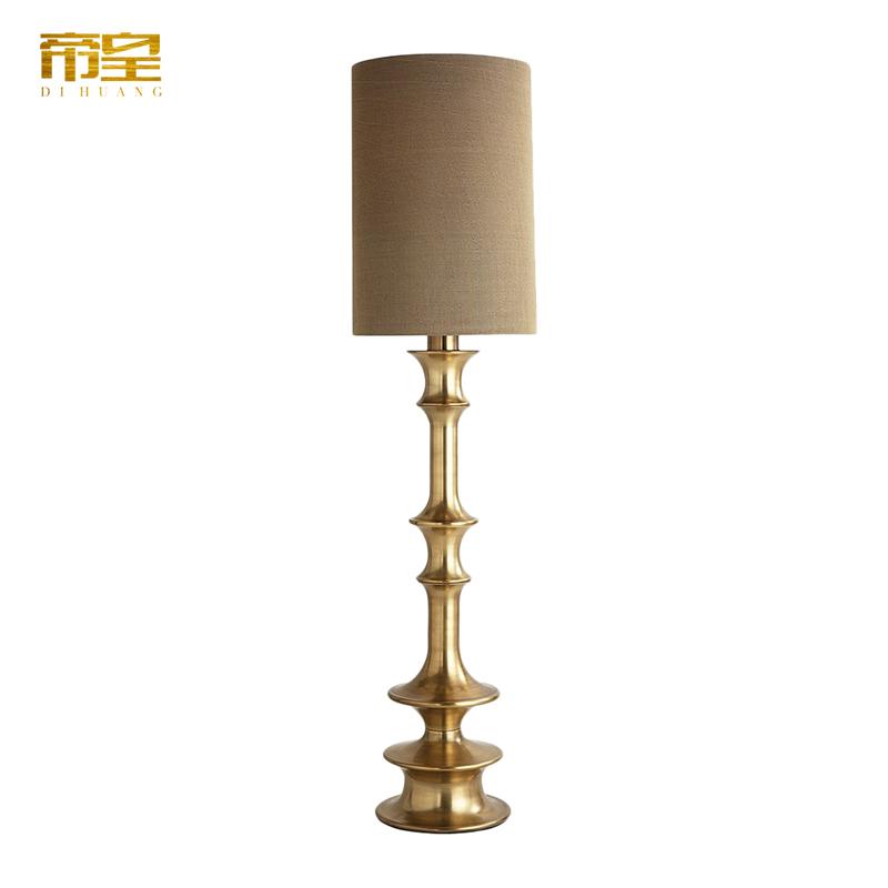 美式全铜落地灯客厅样板房纯铜复式楼别墅展厅卧室大气高档铜灯