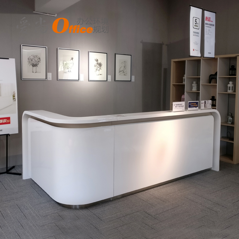 Modern Reception Desk Set Nobel Office For Office Reception Table Company Corner Curved Paint Front Desk Simple 4s Beauty Shop Office Reception Table Furniture Desk Design Counter