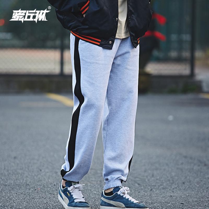 蜜丘琳男运动宽松卫裤街舞条纹运动裤男hiphop束脚学生bboy休闲裤