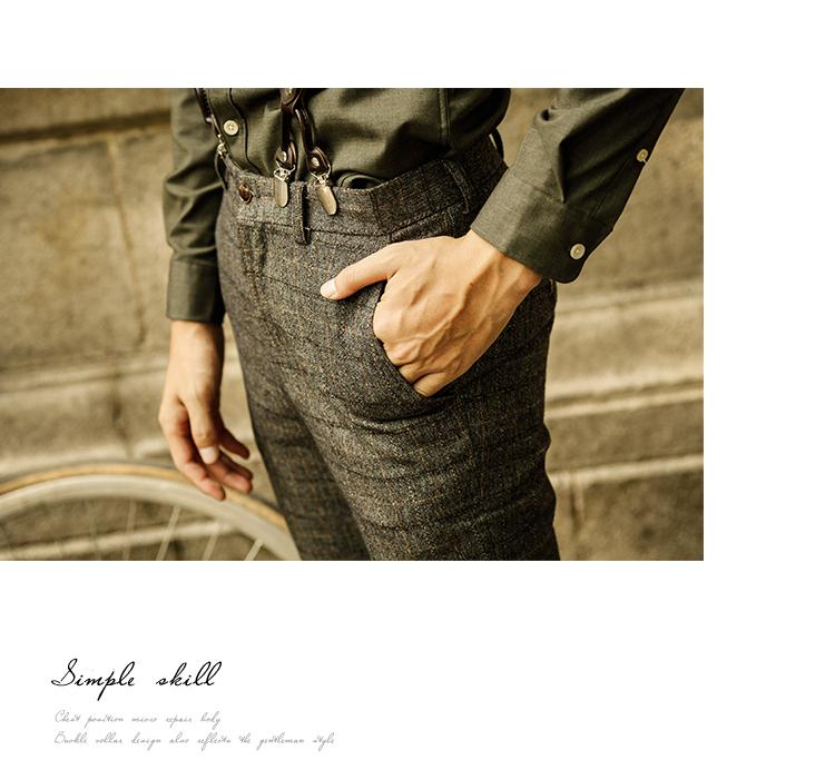 SOARIN Người Anh retro kẻ sọc quần tây giản dị nam mùa hè kẻ sọc mỏng thẳng phù hợp với quần eo thấp