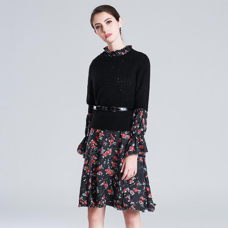 卓伦2017秋新款卓家同款名媛针织上衣+木耳边减龄显瘦印花连衣裙