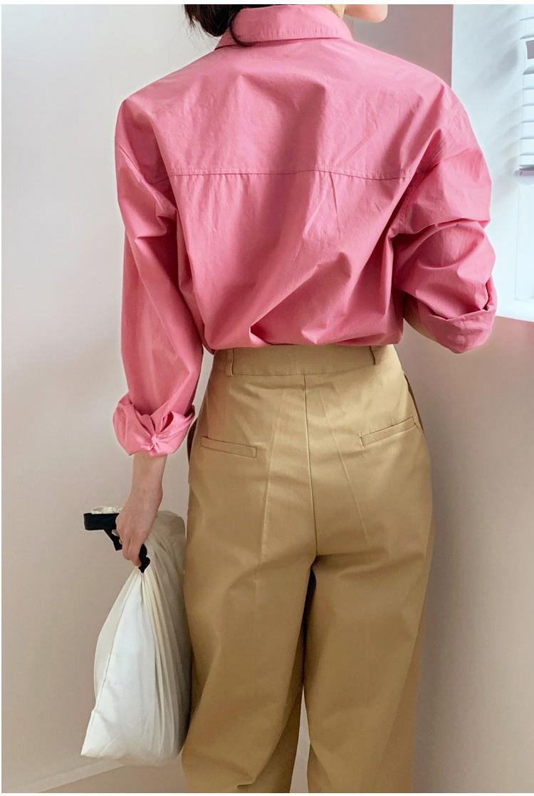 春秋新款復古港味衬衫女设计感小众衬衫宽鬆简约气质粉色上衣详细照片
