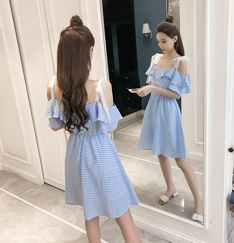 女夏裙子2018新款韩版气质一字领吊带裙格子高腰显瘦小清新连衣裙12-02新券