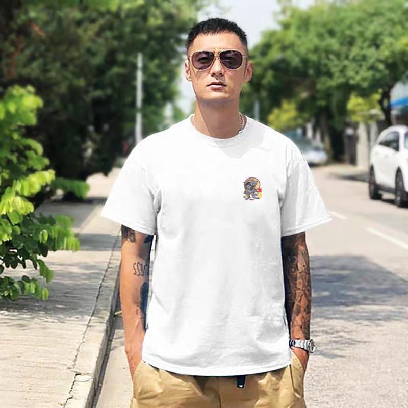 余文乐同款纯棉青春潮短袖T恤牌男流行白色时尚圆领宽松大码半袖