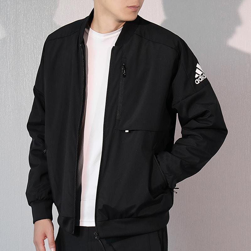 阿迪达斯男装2018秋冬季加绒运动棒球服 保暖立领夹克外套DX7192