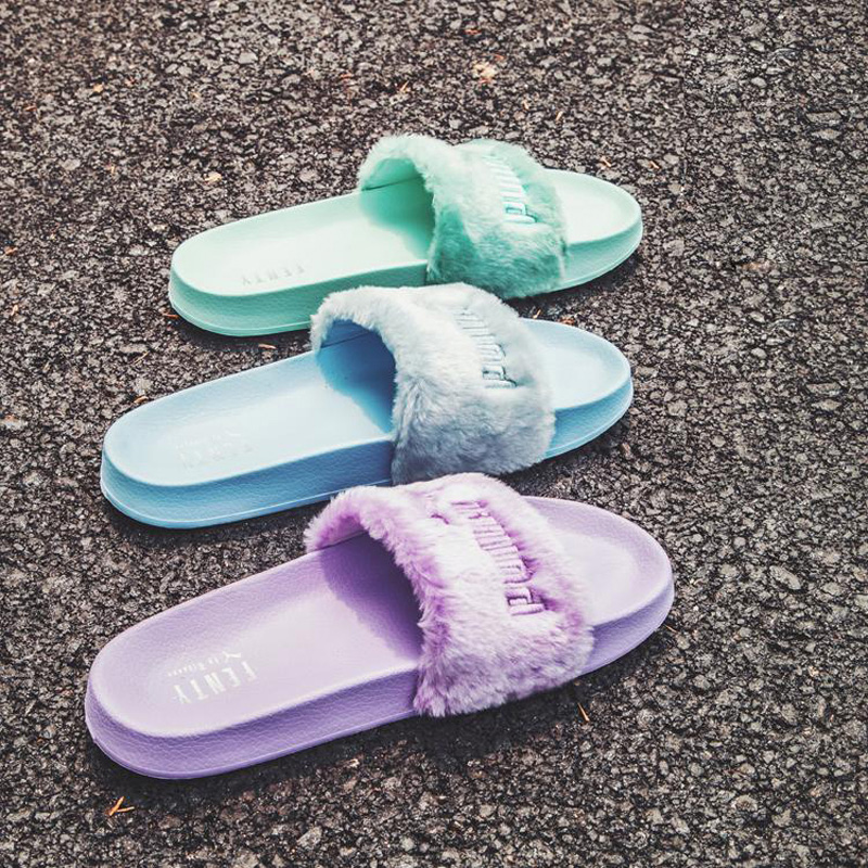 0f3349fdf6e Puma Puma Women Shoes 2018 spring FENTY Fur Rihanna plush sports leisure  female slippers 365772-