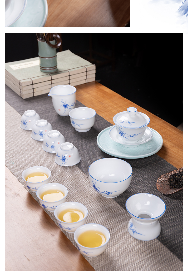 Touch the floor clearance 】 【 tea set a complete set of blue and white porcelain teapot kung fu tea tureen suit the teapot