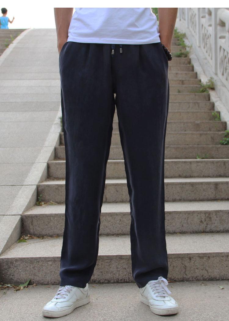 Người đàn ông lỏng lẻo mùa hè mỏng nặng lụa bó sát đồng amoniac lụa quần của nam giới Tiansi Trung Quốc phong cách lụa lụa quần âu