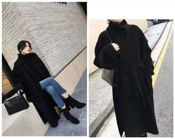 Off-season double-sided cashmere coat women were thin and loose mid-length Hepburn style woolen black high-cold thick coat high-end