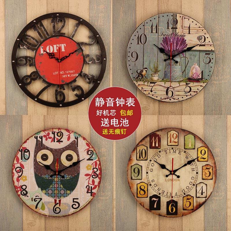 14 дюймовый континентальный ретро часы настенные часы гостиная домой спальня простой колокол круглый творческий немой вешать стол кулон