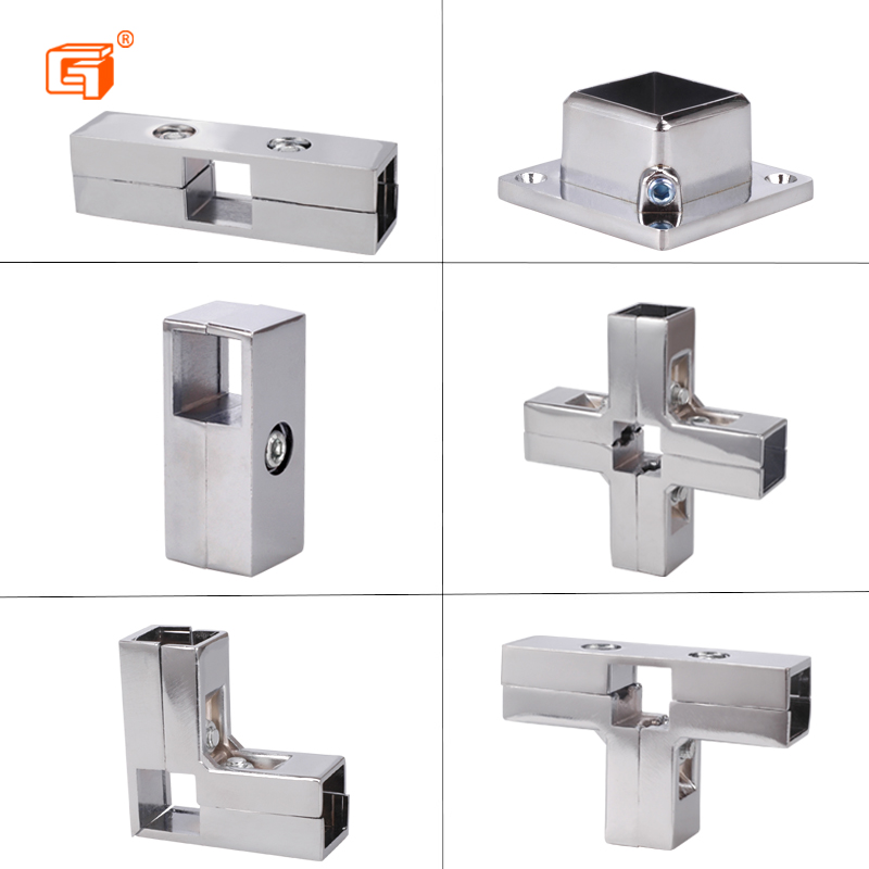 Thickened Stainless Steel Square Pipe Tee Connector 25*25 Square Pipe Joint  Shelf Show Frame Fastener Square Pipe Fittings