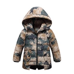 儿童羽绒服男中长款迷彩外套
