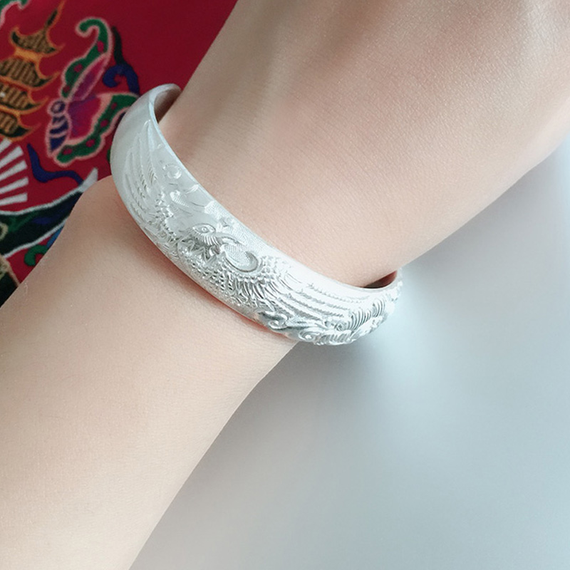 cb9e3c3e8dfea Phoenix peony silver bracelet ancient heritage 999 foot silver bracelet  female sterling silver jewelry snowflake silver to send mother bracelet