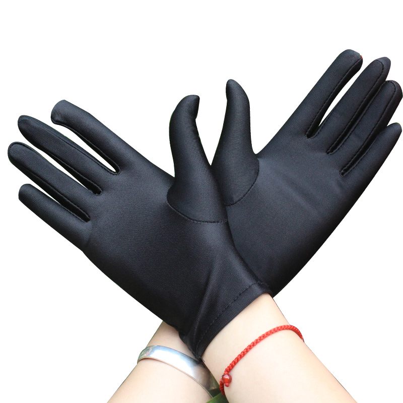 5e2b69614739d Spandex gloves spring and summer men and women white etiquette thin short stretch  gloves dance tight ...