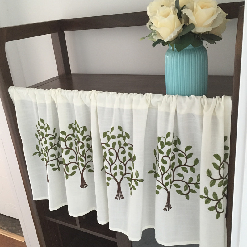 Custom American country cotton garden coffee curtain short curtain half  curtain floating curtain kitchen shade partition curtain finished products