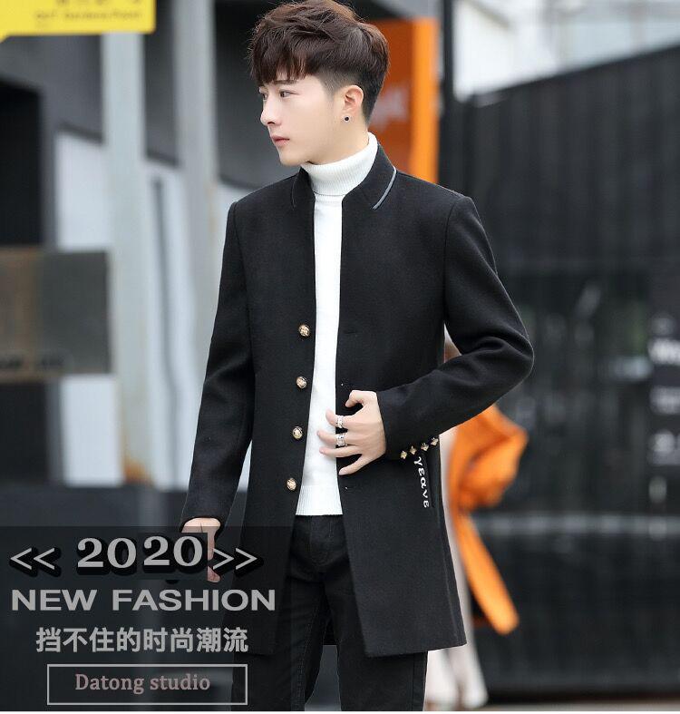 Men's wool coat in the long hair coat men's youth Korean version of the trend Chunqiu Nizi windshield man 43 Online shopping Bangladesh