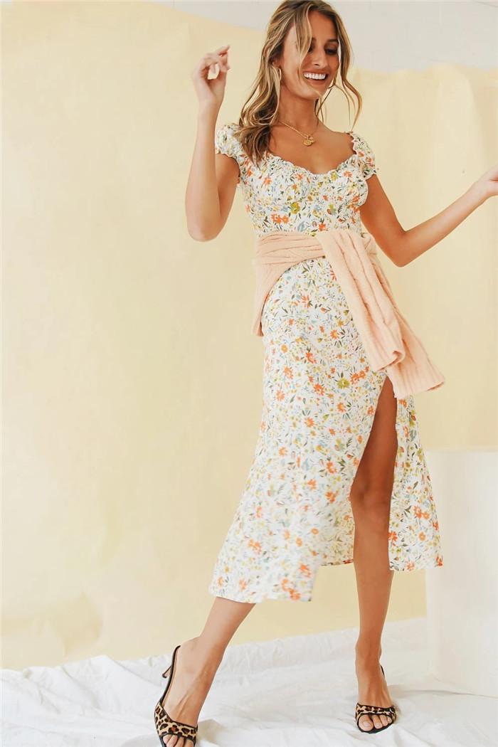 ნაზი, ყვავილებიანი საზაფხულო  კაბა