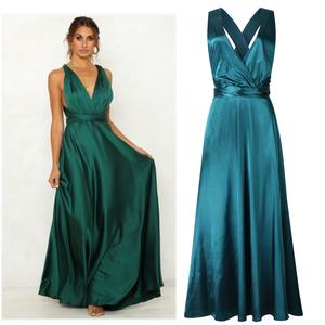 欧美礼服新款外贸v领性感露背纯色绑带宽松连衣长裙