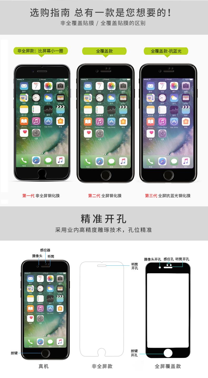 苹果x钢化膜6s/12/7plus/8/8p/6全屏xr抗蓝光11pro/iPhonexsmax详情图片16