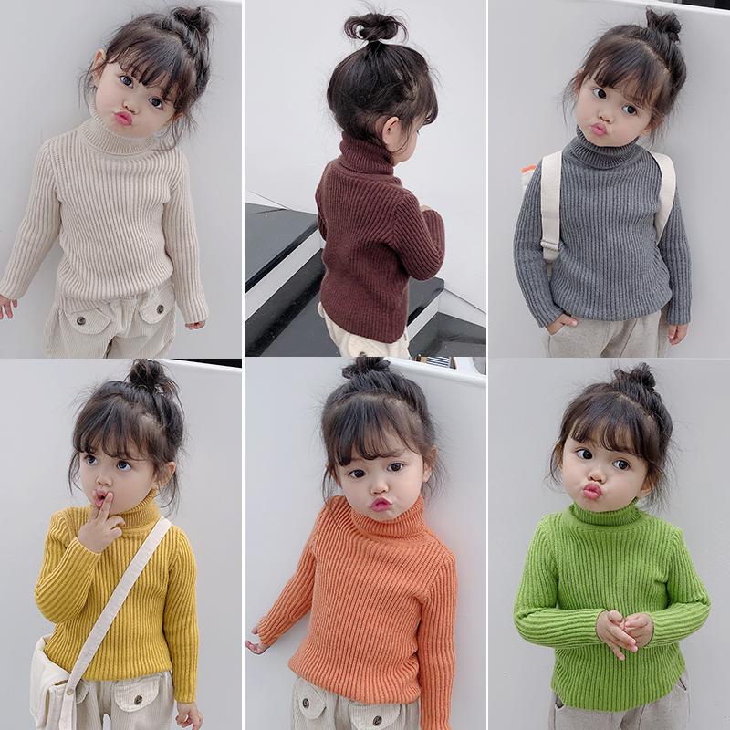 宝宝女童冬装童装2019新款打底高领毛衣针织套头婴儿衫1-2-3-4岁5