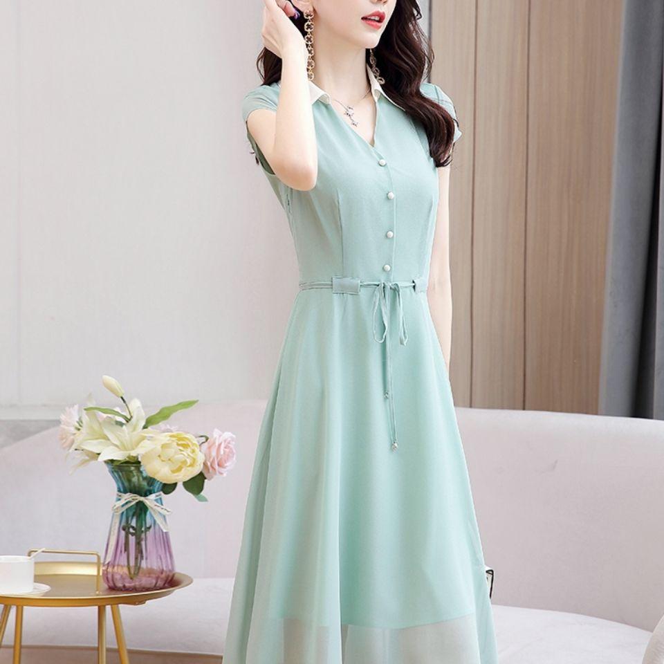 连衣裙女2021夏季新款收腰显瘦气质女神范法式水绿色雪纺衬衫裙子