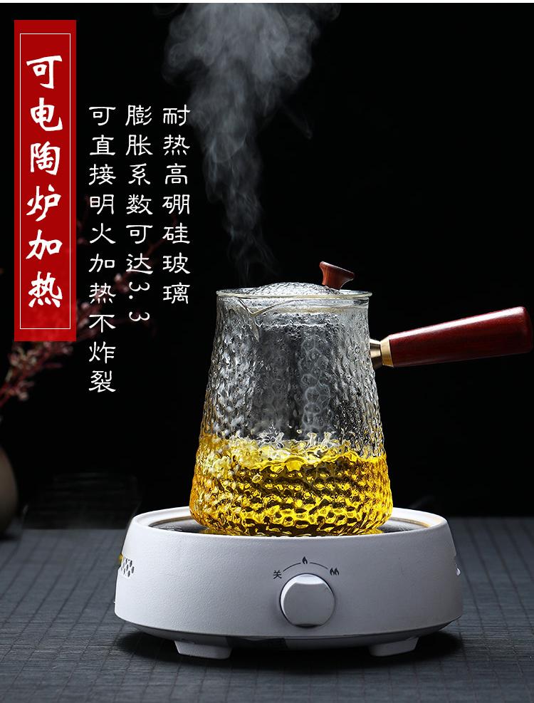 加厚耐热玻璃蒸煮茶壶手工锤纹侧把蒸煮两用壶黑晶炉专用壶大容量详细照片