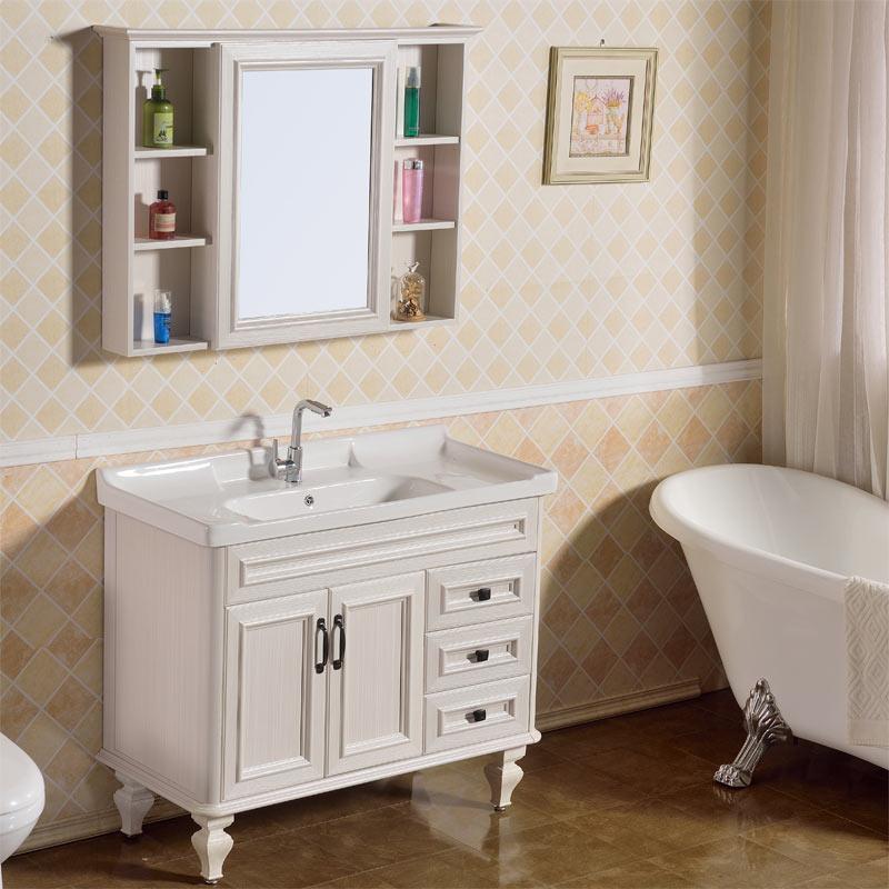 落地式浴室柜卫生间洗手台盆卫浴镜柜组合美式洗脸面池厕所洗漱台
