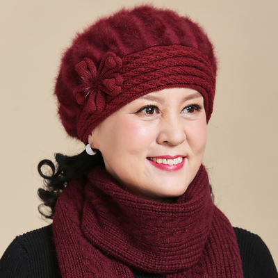 46b0a9bd718 Middle-aged and elderly autumn and winter rabbit fur hat old hat ...