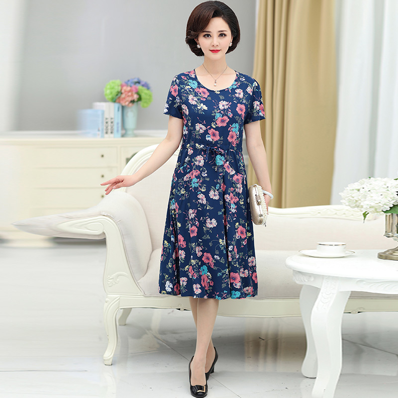 ce0b2d35e628 Middle-aged woman Summer Dress 2018 new 70 short-sleeved dress 50 years old  · Zoom · lightbox moreview · lightbox moreview ...