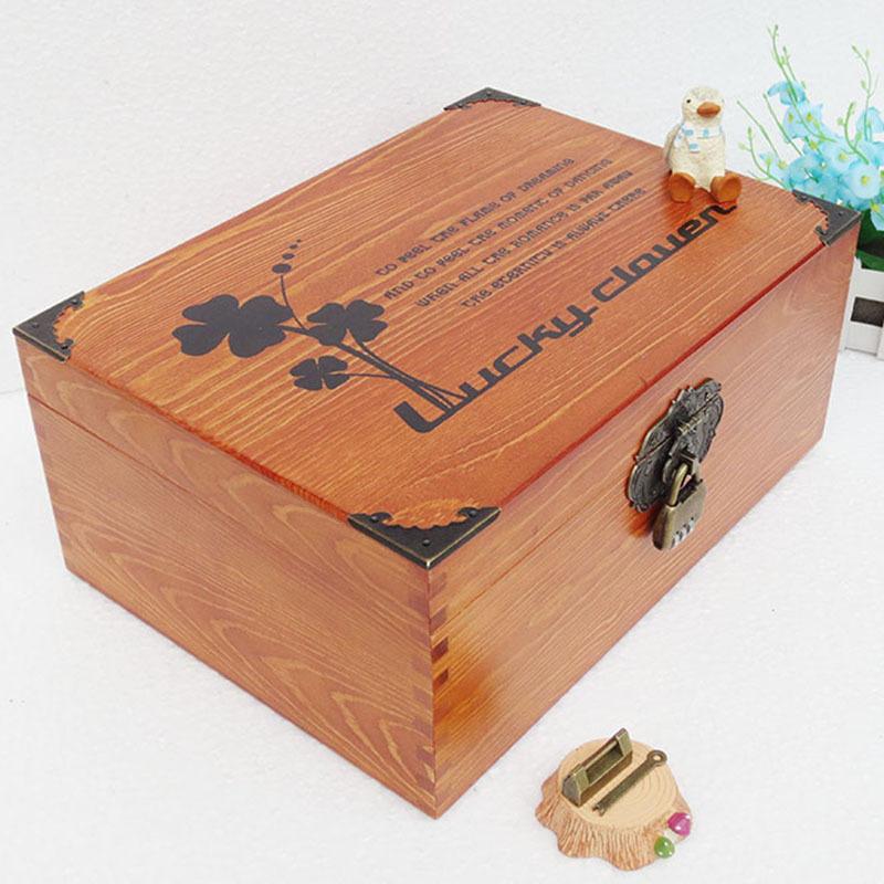 带锁v桌面盒桌面实箱子储物盒复古木木质大号盒子家用密码箱小杂物