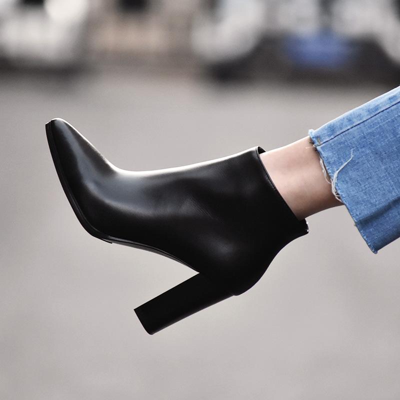 裸靴2018高跟鞋真皮尖头及踝靴秋冬女鞋女靴子马丁靴黑色粗跟短靴