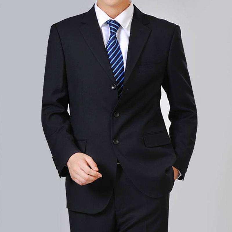 春秋新款中年西装v西装爸爸外套中老年上衣装商务西服便男士男单件
