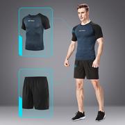Thể dục phù hợp với nam mùa hè chạy quần áo ngoài trời ngắn tay quần short giản dị hai mảnh phần mỏng thể thao mùa hè