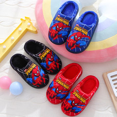 Children's cotton slippers in the big boy winter cartoon non-slip thick bottom warm child home adult indoor slippers male tide