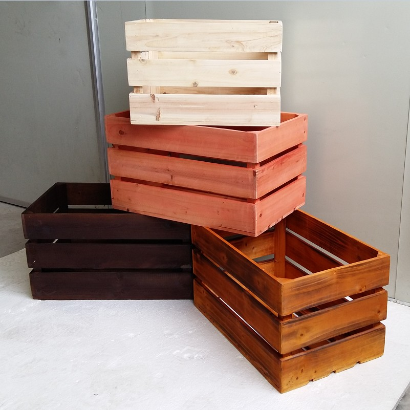 Solid Wood Storage Box Retro Old Wooden
